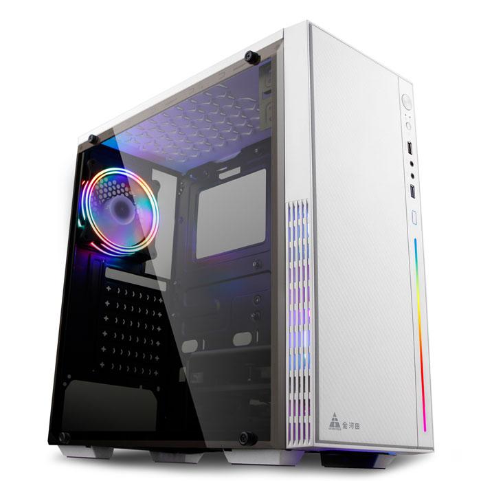 金河田预见N27W 电脑机箱台式机全侧透水冷游戏机箱办公家用